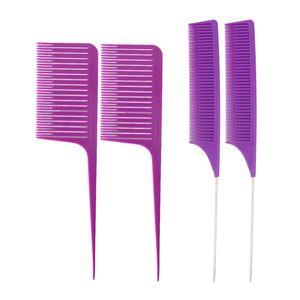 4x Hassas diş Salon için Örgü Vurgulama Foiling Saç Combs Geniş dişli