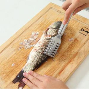 Fish acero inoxidable escamas de piel de pescado cepillo de limpieza cuchillo de cocina herramienta de máquina de afeitar del limpiador del removedor de la piel Descaler pescado Herramientas Cuchillo aC BH0524