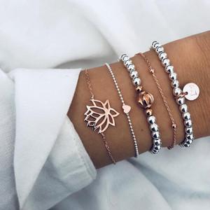 Catena Set Bead braccialetto di fascino del branello pendente lettera Disco fili Cuore fiore di loto di colore dell'oro che intaglia corda catena di metallo placcato