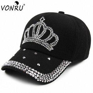 Großhandel VONRU New Crown Strass Baseballmützen Mode Jean Hip-Hop Hut Frauen-Denim-Baseballmütze Sonnenhut z4MD #