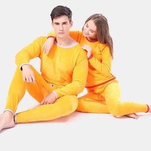 Frauen der Männer Thermo-Unterwäsche-Sets Winter warm langer Johns Dicke Fleece Wolle Samt Thermo-Unterwäsche Top Pants Plus Size Pyjamas