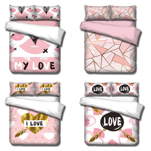 3D Love Design Digital Printing Bedding Set Duvet Cover Pillowcase Bedclothes Dropshipping Boy Gife Flowers