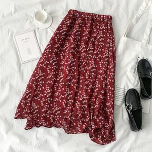 Spring Summer Flower Skirt Women Casual High Waist Red Fashion Chiffon Long Skirt Female Vintage Pleated Bottoms