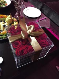 Rose Flower Storage Box Transparent Makeup Organizer Acrylic Flower Box for Girls Gift Wedding Party Christmas Decoration