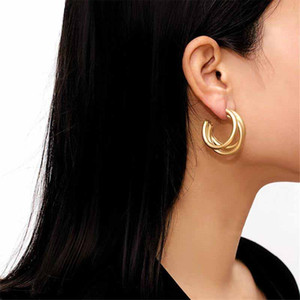 Ingemark Punk Gold Color Hoops Earrings Trendy Minimalist Thick Tube Round Circle Rings Earrings Hiphop Rock Jewelry 2020