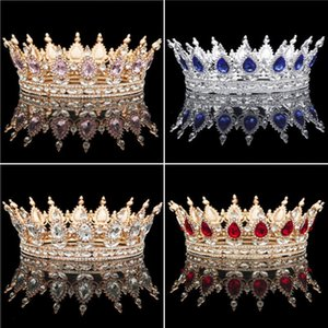 Vintage Baroque Queen King Bride Tiara Crown For Women Headdress Prom Bridal Tiaras and Crowns Wedding Hair Jewelry Accessories T200110