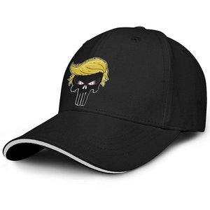 Унисекс козырем каратель логотип Мода бейсбол Sandwich Hat бейсбол водитель Оригинальный грузовик Cap волос череп TrumPisher2020 TrumpHair не