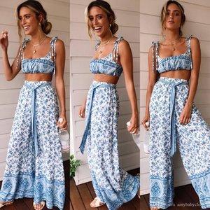 Women Bodycon Jumpsuit Set Sleeveless Slip Up Floral Print Crop Top Long Pant 2 Pieces Clothing Suit Women Rompers