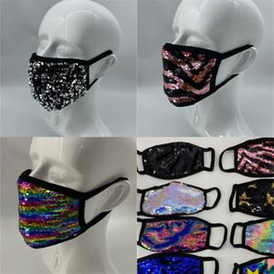 Ajustable de la sirena de las lentejuelas de la mascarilla lavable Caras Máscaras Mascarilla resistente a las manchas de colores Misceláneas del hogar Utensilios de limpiar el polvo 3RM E2