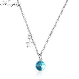 Anenjery New Fashion Artificial Crystal Blue Planet Star Necklace For Women 925 Sterling Silver Clavicle Chain Necklace S-N299