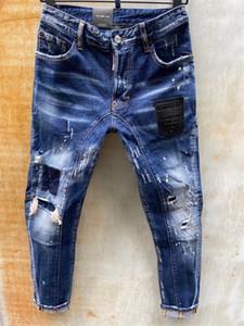 20ss Marka Moda Tasarımcısı Jeans erkek kot denim siyah yırtık pantolon moda sıska kırık stil bisiklet motosiklet kaya canlanma jean # Q563
