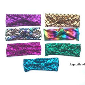 New Design Baby Mermaid Headband Sequin Bow Girls Glitter Metallic Mermaid HeadWear Turbon Knot Children Girls Kids Hair Accessories