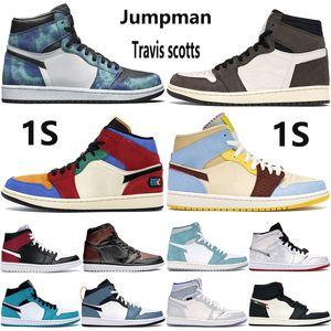 qualità Top 1 1s uomini Jumpman scarpe da basket Travis Scotts Tie Dye turbo senza paura verde pallido vaniglia alla cannella uomini donne scarpe da ginnastica