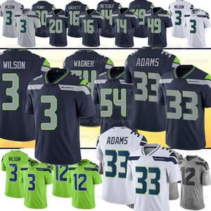 3 Russell Wilson 33 Jamal Adams Erkekler Seahawkss Jersey 54 Bobby Wagner Tyler Lockett Fan 49 Shaquem Griffin 31 Kam Chancellor Rashaad Penny