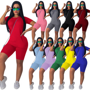 Womens Short Sleeve Tracksuits Summer Two Piece Shorts Set Sports Suits Solid Top Tshirt + Knee Length Shorts Suits Purple Green S-4XL