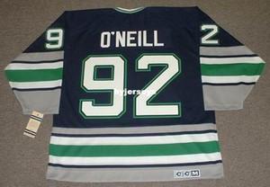 Hommes personnalisés Jeff O'Neill Hartford Whalers 1995 CCM Vintage Cheap Retro Hockey Jersey