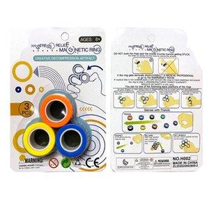 3PC profissionais de descompressão brinquedos magnéticos anel pulseira Descompacte Magic Toy Props anel de dedo Therapy Training alivia redutor de estresse