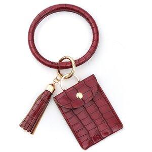2020 Croco Art-Armband Schlüsselanhänger 10 Farben PU-Lederkrokodilhaut O-Armband mit Münzen-Beutel und Quaste Pandent M174B
