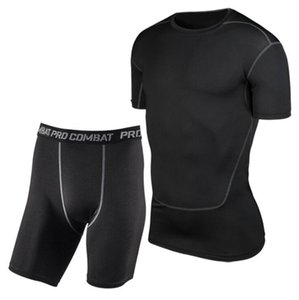 Men Sports Pro Tights Short Sleeved Suit Training Fitness Uniforms Track Field Basketball Soccer Clothes Stretch Sets T200709