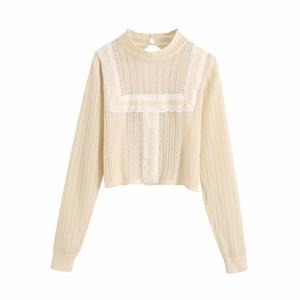 2020 Uzun Kollu Bayan Knits Tees Giyim Erken Sonbahar yeni Euro-amerikan tarzı saf renk yuvarlak boyun romantik içi boş örgü tişört üst