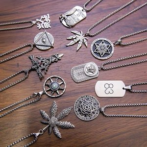 Fashion Titanium Steel Green Plant Leaf Necklace Maple Leaf Personality Hip Hop Stainless Steel Pendant Trendy Hot Sale