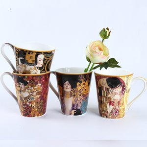 Criativo Bone China Água Cup Famouspaint Oil Painting Art Coffee Cup Cerâmica Milk Cafe Caneca 410ml Pega O beijo