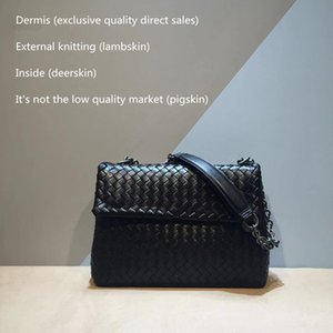 Internal and external dermis crossbody bag The single shoulder bag High-quality Woven Sheepskin Women's Genuine leather