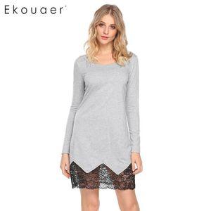 Ekouaer Long Sleeve Nightgown Home Wear Women Round Neck Lace Patchwork A-Line Nightshirts Loungewear Night Dress