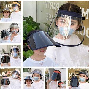 2 piezas / Lote Niños de protección Mascarilla facial a prueba de polvo a prueba de UV careta de protección transparente verano Niños Niñas Anti-gotitas Máscaras elástico sombreros de Sun de DHL