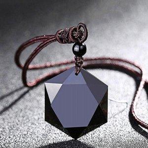 Natural Energy colares de pedra Presentes Mulheres Preto Obsidian Pingentes seis estrelas da sorte amuleto pendente Drop Shipping