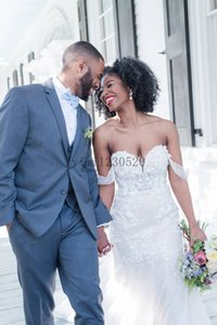 White Lace Mermaid Wedding Dresses 2020 Off Shoulder Backless Sweep Train Appliques Garden Bridal Gowns vestidos de novia Customized