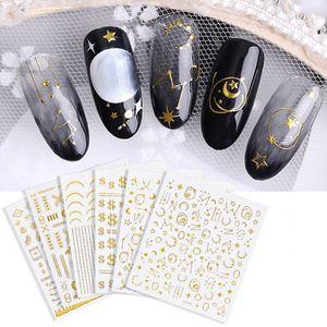 Design Mix 3D Nail Art Decal Stickers Alphabet Lettres étoiles Lune Sun Ultra-mince d'or ongles acryliques outil