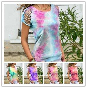 S-5XL Frauen-Sommer-Tie-Dye-T-Shirt Art und Weise Zerrissene Holes Steigung-Farben-Sweat Top Tees Sport beiläufigen Damen Kleidung S-5XL Plus Size LY727