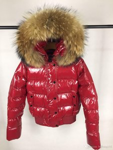 Hot sale Women Winter Duck Down Coat 100% Real Raccoon Fur Down Jacket Slim Thick Down Parkas Red   Black colors