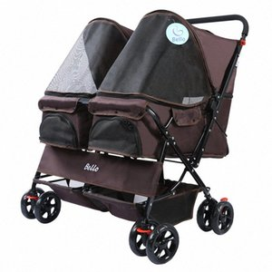 Pet Trolley Teddy Viaggiare Trolley Cat Dog Small Dog Pet Car luce uscente Kennel uscire Luce Passeggino jndG #