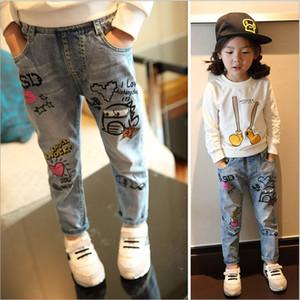 """Wear Mädchen und Jeans """"tragen Jeans Kinder 2020 Frühlings-neue koreanische Art Kinder Graffiti Hosen gewaschen"""
