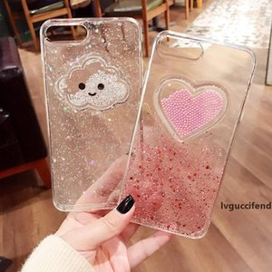 Glitter Powder Smile Face Clouds Mobile Phone Case For iPhone 6 6s 7 8 Plus X Soft TPU Dynamic Beads Back Cover