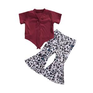 Kleidung Sets 2021 Babymädchen Set Roter Ripp gestrickt Kurzarm Top + Leopard Flaker Beleuchtung Pants 6M-5Y Kinder Kinder Outfit