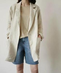 Корейский весна лето весна лето белье скрытые пряжки назад перерезал рыхлую белье середине длины костюм куртка куртка