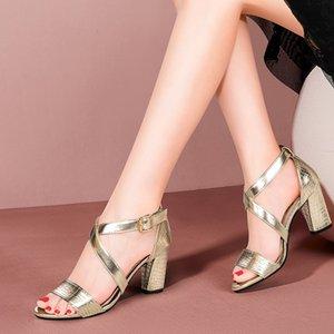 Yaz Ayakkabı Kadınlar Sandalet Yüksek Topuklar Kadın Altın Seksi Çapraz bağlı Sandalias mujer Snake zapatos mujer 8217C pompaları Ayakkabı Elbise