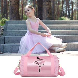 Moda Bolsa de Ombro meninas Dança Latina Bag Mulheres Rosa Ballet Dança Tote Bag Nylon Gym bordado
