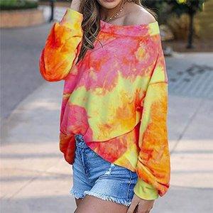 Женская конструктор Люкс Толстовки Весна Осень с длинным рукавом Tie Dye Crew Neck Tshirts Красочные Tops Градиент цвета