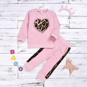Toddler Girl Clothes Pink Baby Girls Shirts Pants 2pcs Sets Leopard Heart Children Outfits Boutique Baby Clothing DW4929