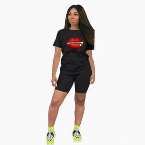 6 색 5 크기의 2020 6 색 5 크기의 세트 2020 피스 setfour 컬러 라운드 넥 입술 패턴 짧은 소매 스포츠 투피스 세트에 맞게