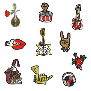 10PCS Set Embroidered Musical Instruments Patch Badge for Punk Clothing Ironing Applique Men Sweater Hats Stripe Sewing Embroidered Patches