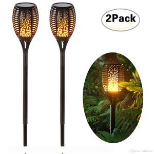 2017 waterproof portable solar lights dancing flames led wireless outdoor lantern solar landscape lighting kits for garden(2 pack)