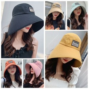 New Summer Women Sun Hats Cotton Cloth Hat Wide Large Brim Anti-UV Beach Caps Girls Travel Foldable Sunscreen Caps Bucket Hats