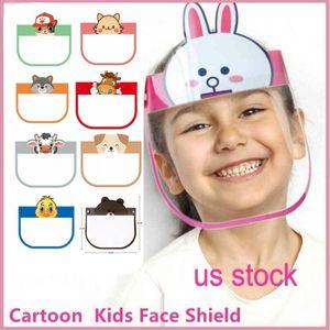 Cartoon Face DHL 3-5 giorni gratis bambini scudo anti-fog Isolamento bambini della mascherina protettiva trasparente PET Splash Head Cover goccioline