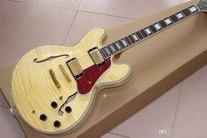 Personalizado Atacado New Duplo F Buraco Bege Jazz guitarra elétrica Mahogany Fingerboard da guitarra elétrica fornecer a personalização de serviço
