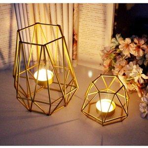 Kostenloser Versand Nordic Goldene eisernen Leuchter Hochzeit Projekte Home Dekoration Schlafzimmer Wohnzimmer-Dekoration Metall-Kerzenhalter Crafts